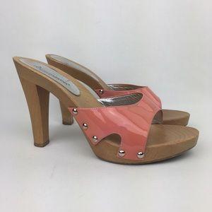 Dolce & Gabbana Wooden Mules Stud Slide Sandals 40